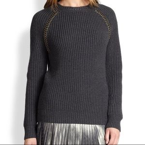 Tory Burch Gray wool pullover Crewneck sweater